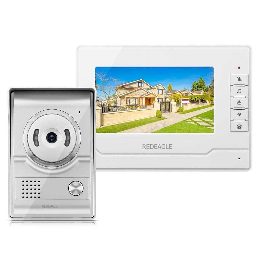цена REDEAGLE 7 inch Wired Color Video Door Pohone Doorbell Intercom System with Unlock 700TVL IR Night Vision Camera