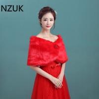 Nzuk в наличии красный Искусственный мех Обёрточная бумага Для женщин Простые зимние уличные Свадебные Обёрточная бумага куртка пальто плат...