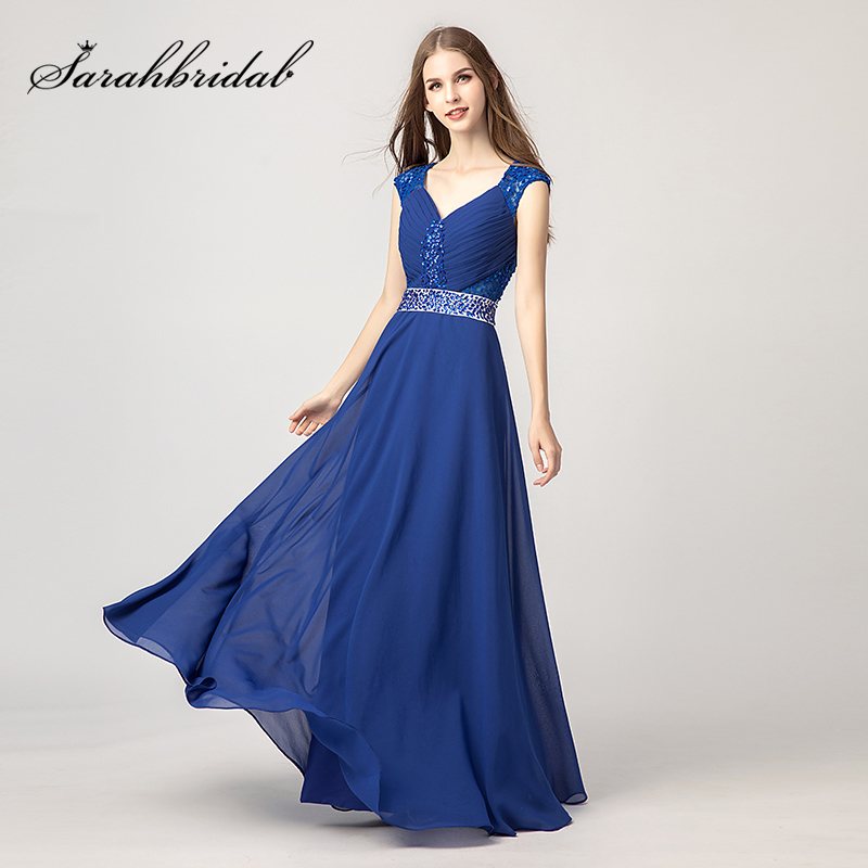 Simple V-Neck Lace Beading Prom Dresses 2018 Chiffon Pleat Crystal Evening Party Gowns Cap Sleeve Wedding Party Dress L3175