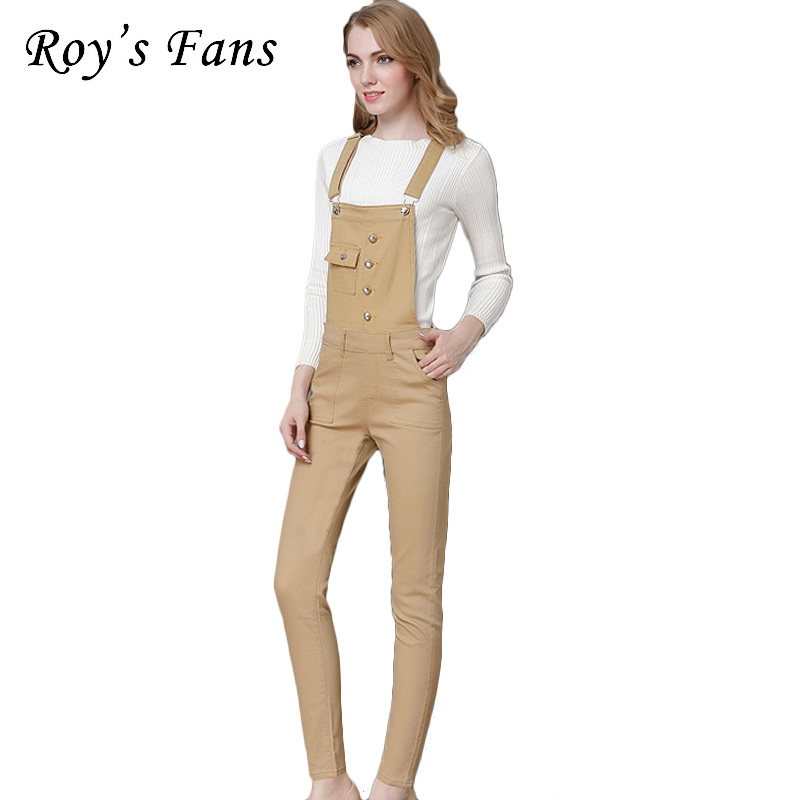 Roy's Fans Fashion Women <font><b>Jeans</b></font> Solid Casual Straight Overalls Long Pants For Women Adjustable Length <font><b>Khaki</b></font> Color