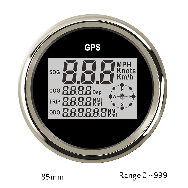 85mm GPS Speedometer Motorcycle Digital LCD Speed Gauge 0-999 knot kmh mph Compass with GPS Antenna 12v 24v for auto Truck Boat 100% brand new gps speedometer 60knots for auto boat with gps antenna white color