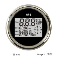 85mm GPS Speedometer Motorcycle Digital LCD Speed Gauge 0 999 knot kmh mph Compass with GPS Antenna 12v 24v for auto Truck Boat