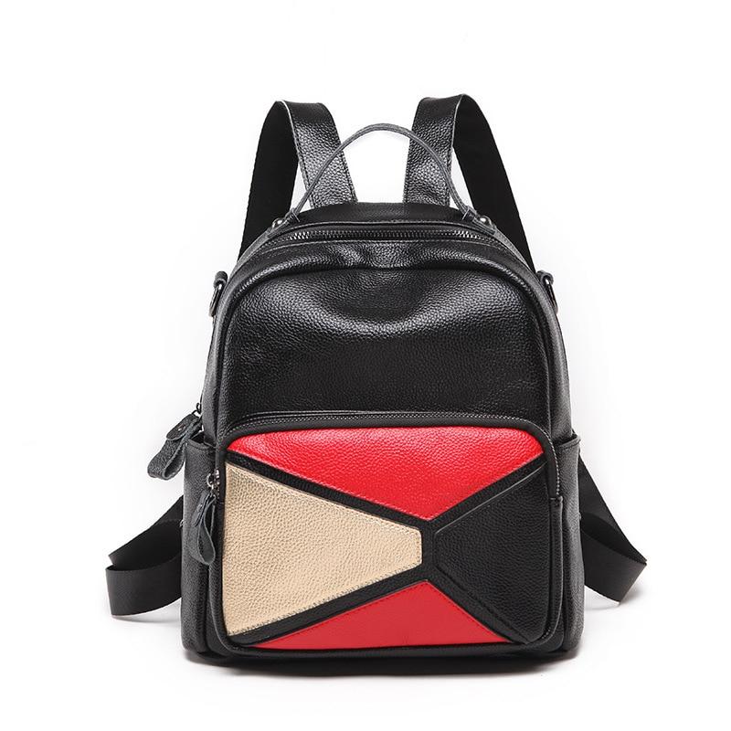 Female Cowhide Backpack Genuine Leather Backpacks Women Mochila Feminina  Zipper Backpack Bookbags Match Color BagsFemale Cowhide Backpack Genuine Leather Backpacks Women Mochila Feminina  Zipper Backpack Bookbags Match Color Bags