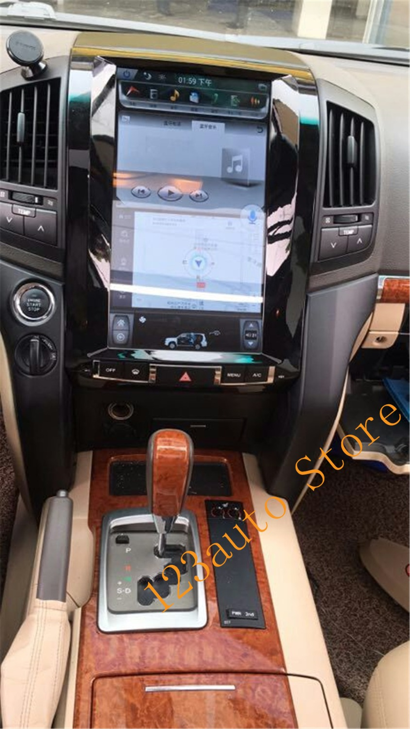 Autocardvdgps 13.6 inch vertical tesla style android 7.1 auto car dvd gps player navi for  toyota land cruiser lc200 2008-2015 with dvd functio