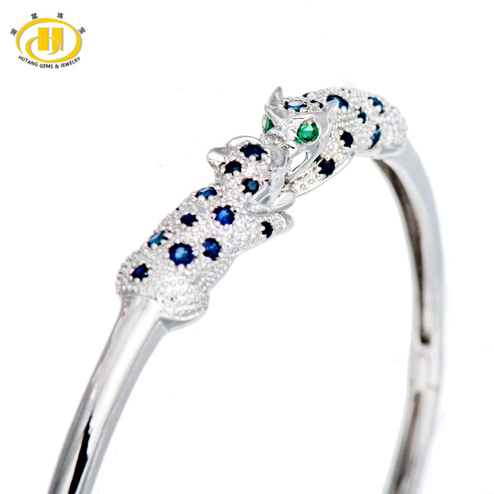 Hutang Stone Jewelry Natural Sapphire & Emerald Solid 925 Sterling Silver Leopard Bangle Bracelet for Women Fine Fashion Jewelry 5pcs fashion 925 sterling silver fine jewelry bangle