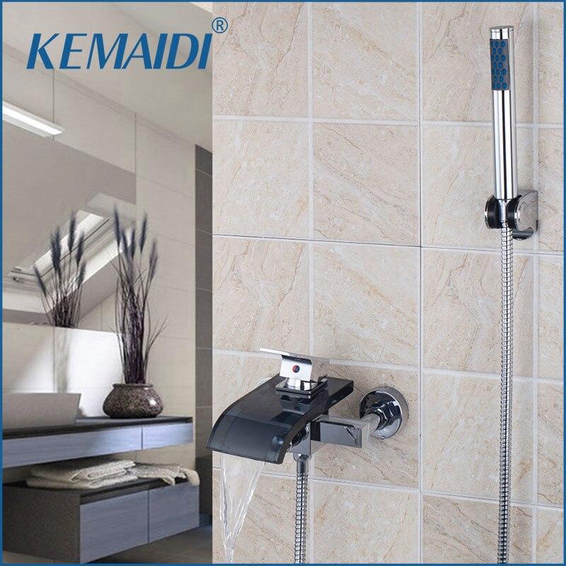 KREMAIDI ensemble de douche de salle de bain mitigeur mural à levier unique bec en verre noir avec robinet de douche à main