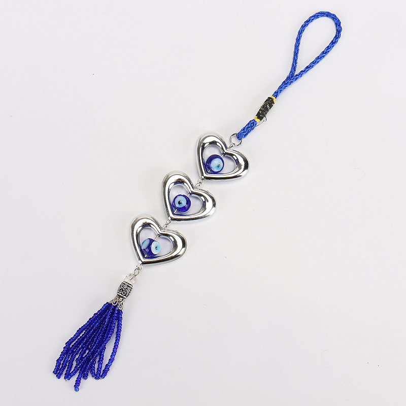 New Arrival Heart Shape Decor Home Hanging  Evil Eye Bead Wall Hanging Car Hanging 20cm