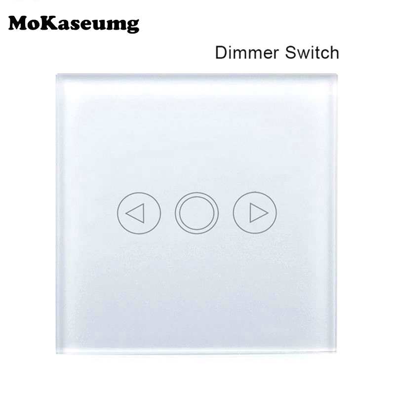 Mokaseumg Home Wall Dimmer Switch EU Glass Panel Touch Sensor Lighting Switch LED Bulb Touch Dimmer Switch AC170V-240V Mokaseumg Home Wall Dimmer Switch EU Glass Panel Touch Sensor Lighting Switch LED Bulb Touch Dimmer Switch AC170V-240V