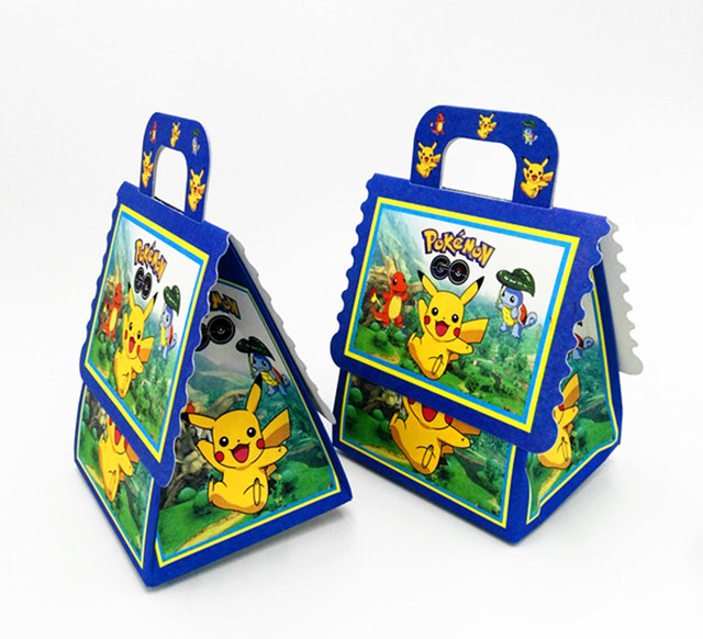 6PCS SET POKEMON THEME CANDY BOX GIFT KIDS SCHOOL BAGS FAVOR BIRTHDAY PARTY SUPPLIES