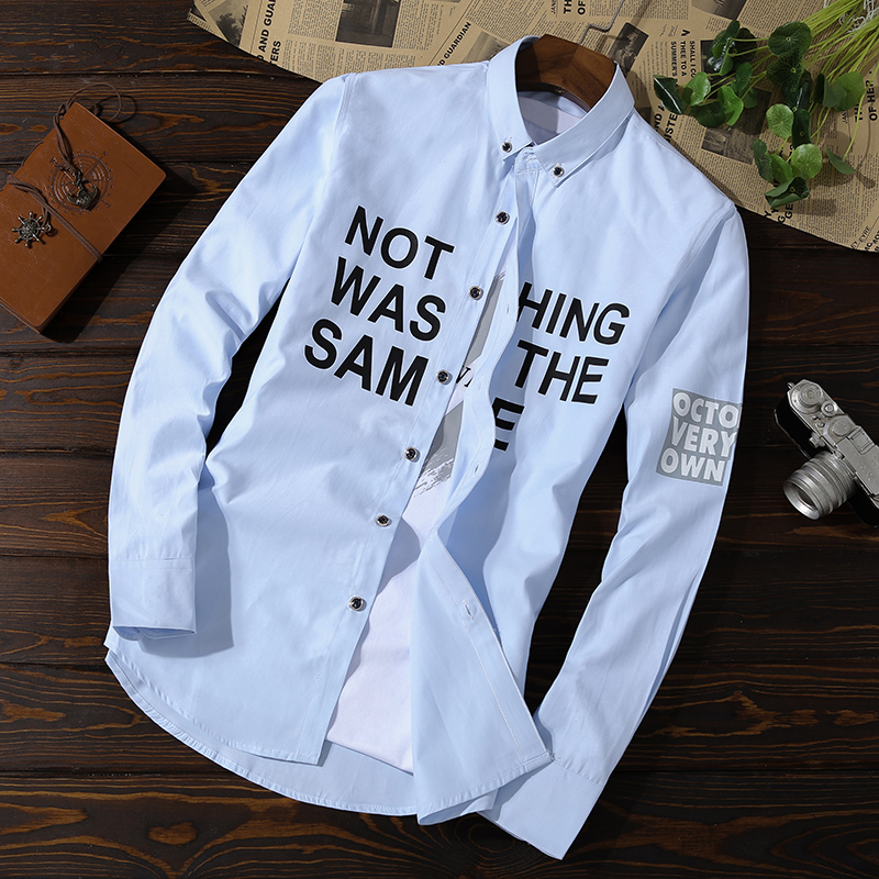 Long-sleeved shirt, spring and autumn leisure net, red-inch self-cultivation trend, handsome men's shirt 9