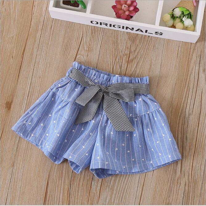 YBWID-18326 2018 ניו תינוקת מכנסיים קצרים עם פסים לב הדפסת מכנסיים פעוט ילדה אופנה בגדי בנות קיץ מכנסיים קצרים תינוק קשת