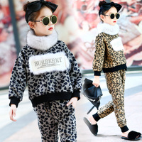 Western style suit 2017 new girls winter fur collar sweater thickened leopard shirt+trousers children fashion trend 2 Pcs/1 Lot