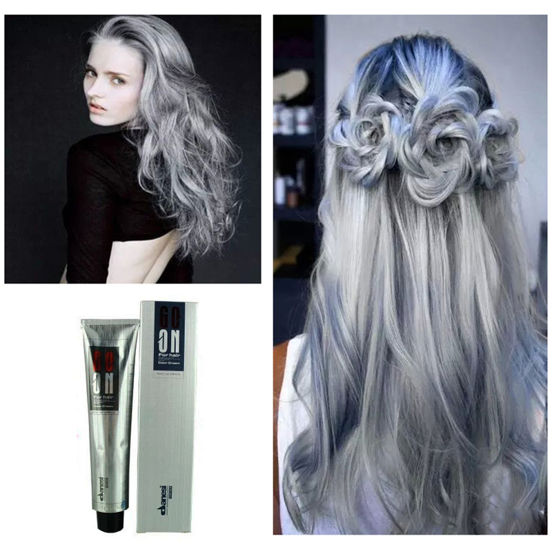 Unisex Fashion Permanent Punk Hair Dye Light Gray Color Cream 100ml