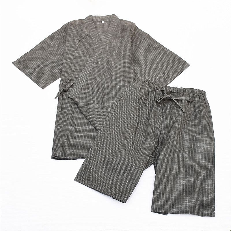 Japanese Cotton Kimono Pajama Suits Summer Short Sleeve Pyjamas Set Sleepwear Robe And Shorts Traditional Home Lounge Sleepwear