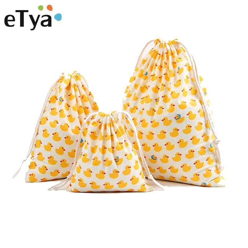 ETya Travel Luggage Drawstring Bags Storage Pouch Clothes Handbag Cotton Women Men Girls Shoes Bags Makeup Bag Quality 3pcs/set