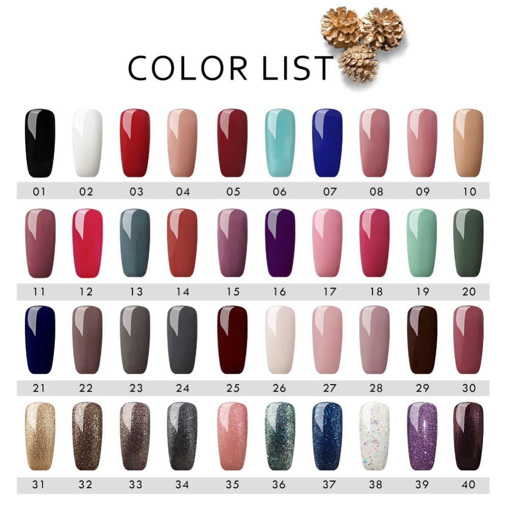 COSCELIA Nail Polish Set 40Colors Set UV Gel Soak Off Nail Kit For Manicure Pedicure Gel Polish Set Gel Varnishes For Nail Art in Nail Gel from Beauty Health