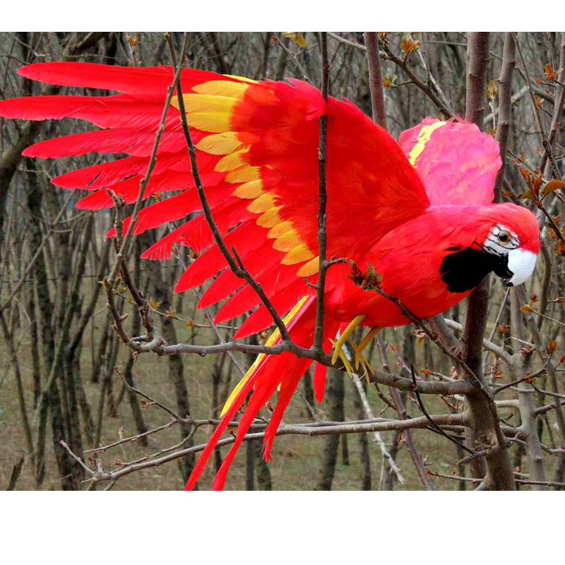 new simulation wings parrot toy plastic&fur red parrot model gift about 45x60cm big new red wings parrot toy polyethylene