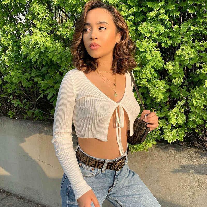 חם נשים סקסי פתוח חזה קשת ארוך שרוול סוודר חולצה חולצות חשוף טבור Slim חולצה למעלה 2019 חדש