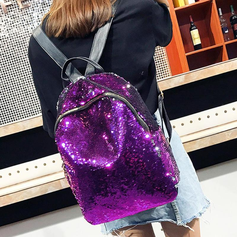 Women Sequins Backpack Teenage Girls Fashion Schoolbag Casual Travel Bling Rucksack Mochila Feminina Holographic Backpack Z95