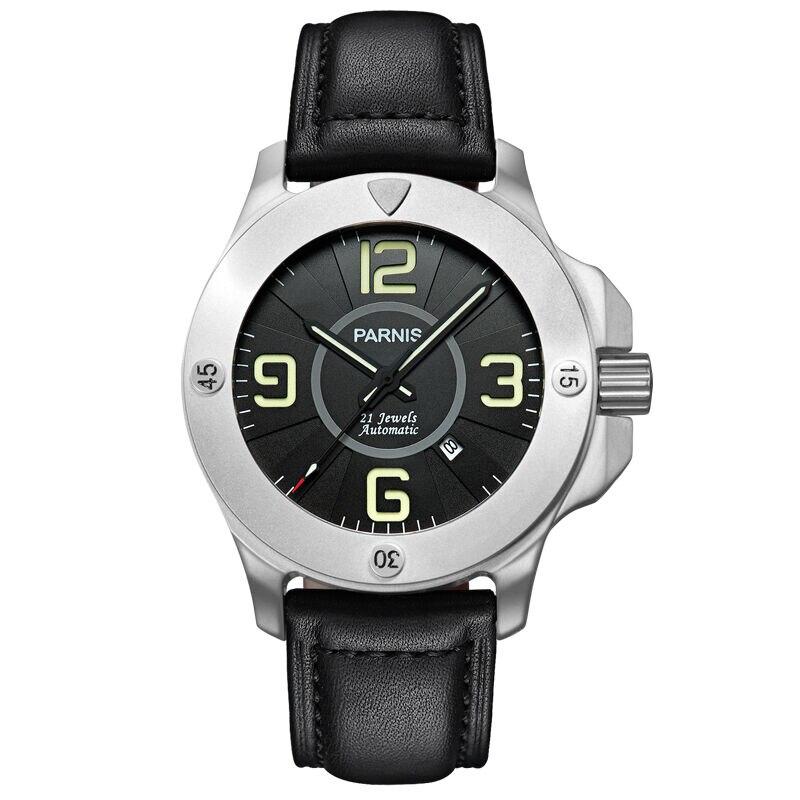 все цены на Parnis Commander Seriers Luminous Mens Sapphire Glass Leather Watchband Military Sport Automatic Mechanical Watch Wristwatch онлайн