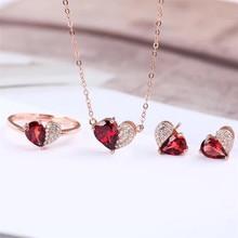 цена factory wholesale new fashion romantic heart red garnet 925 sterling silver natural gemstone jewelry set for wedding engagement в интернет-магазинах