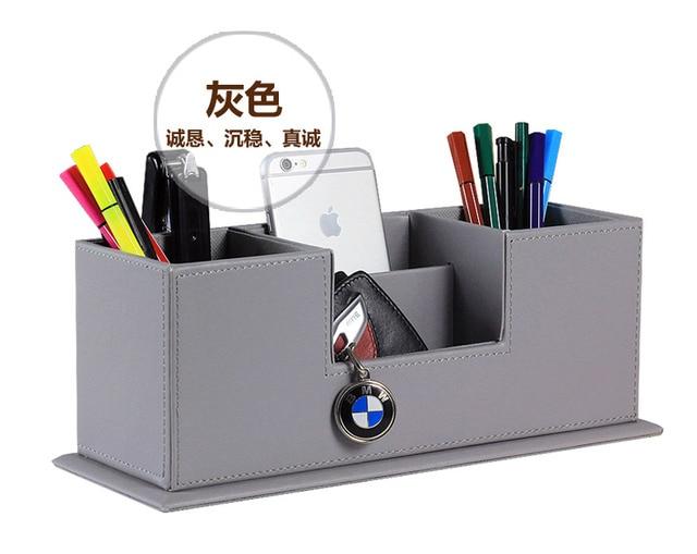 Populaire créative en bois pu en cuir bureau porte stylo crayon cas