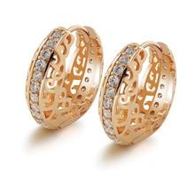 MxGxFam полые серьги-кольца с цветочным узором желтое золото цвет для женщин прозрачный Циркон наивысшего качества