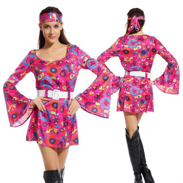 Disfraz de Hippie 60\'s 70\'s Vintage para Mujer para Fiesta Carnaval ...