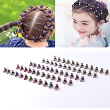 12 Pcs/Set Kids Rhinestone Hair Claws Accessories Girls Hairpin Small Flowers Clips Bangs for Children Random Colors