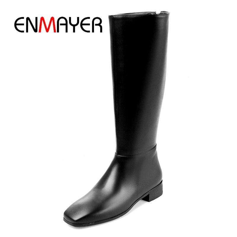 ENMAYER New fashion women knee high boots women square toe zipper boots fashion boots for women Size 34-41 ZYL932ENMAYER New fashion women knee high boots women square toe zipper boots fashion boots for women Size 34-41 ZYL932