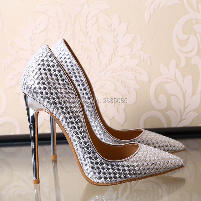 placeholder Fashion Elegant Shining Black Gold Silver Bridal Wedding Shoes  12cm High Heel Shoes Woman Sexy Stiletto 1f1f262b9ec9