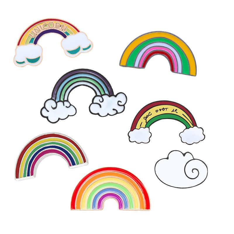 Gökkuşağı ve Bulutlar Emaye Pin Karikatür Gökkuşağı Broş Koleksiyonu Moda Metal Broş rozet pimleri Hediyeler Kadın Erkek Çocuklar için