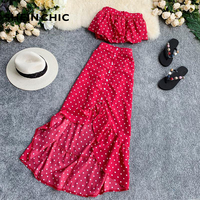Bohemian Summer Women 2019 Two Piece Set Red Polka Dot Strapless Chic Tops And Irregular Ruffles Long Skirt Female Two Piece Set