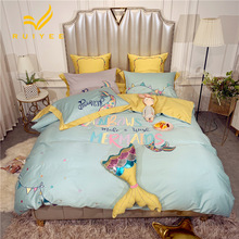 RUIYEE bedding set luxury 60 long-staple cotton embroidered comfortable bedding 4/5/6/7pcs princess style mermaid bed set все цены