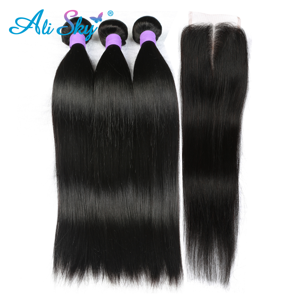 Ali Sky Peruvian Straight Human Hair 3 Bundles with 1pc Lace Closure 4x4 Middle Free Three