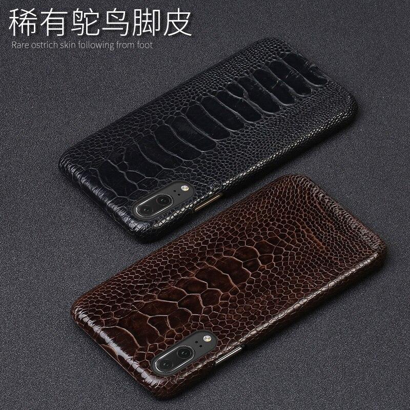 Capa de telefone de couro de luxo para huawei p10 p20 lite p10 p20 p30 pro caso de avestruz natural pé pele para mate 10 lite p caso inteligente - 4