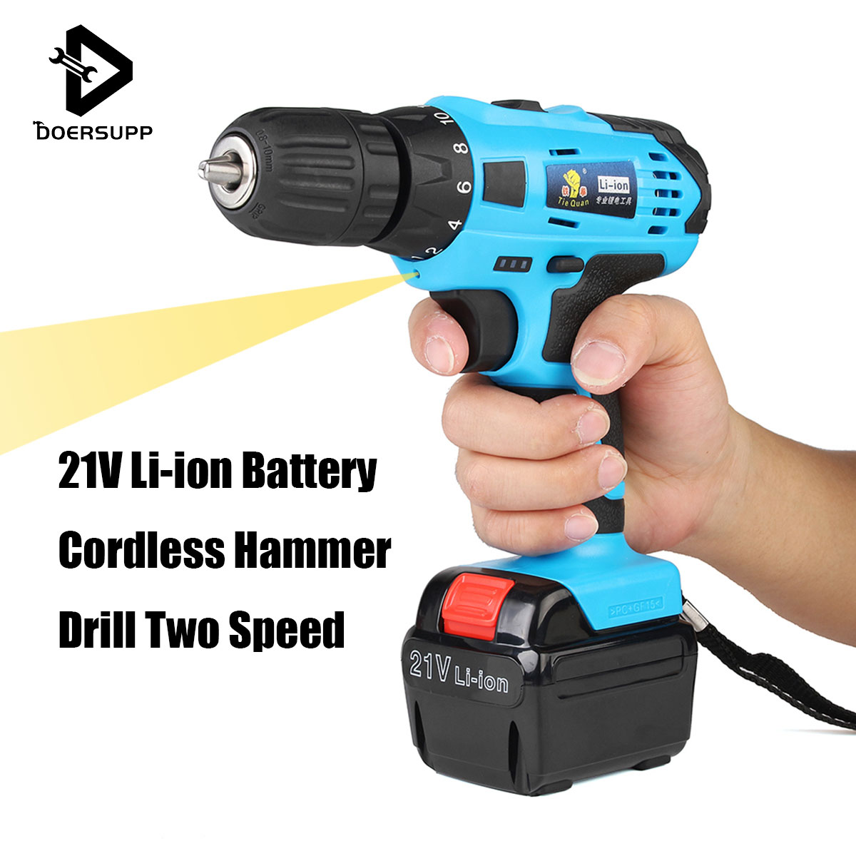 21V 1.5Ah Rechargeable Cordless Drill Li-ion Battery Electric Screwdriver 3/8 inch Cordless Drill Driver Power Tools Two Speed electric cordless drill 16 8v lithium ion dremel drill engraver electric drill power tools two speed rechargeable screwdriver
