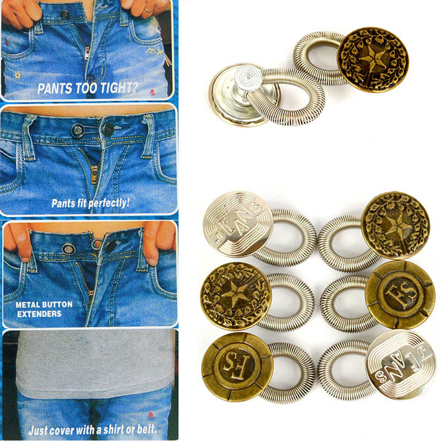 6Pcs Expanders Button Fix Extender Waist Men/Women Pants Jeans Stretch