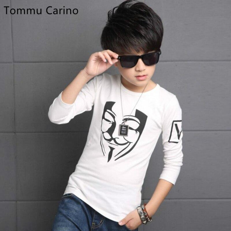 Tommu Carino Brand New Autumn Fashion Print White t shirt Kid Boys Elastic Good Quality Cotton Baby t shirt Many Style Freeship