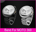 Top Quality Black Silver 22mm Link Bracelet Watchbands For Moto 360 Band For Motorola Moto 360 Smart Watch+ Tool+ Connecting Rod
