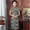 New Style Chinese traditional brand stretch black Lace printing cheongsam the women qipao dress free shipping M L XL XXL 3XL