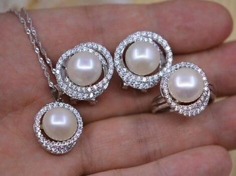 Natural AAA+ pearls 925s sets 11-12mm jewelry with 925s chain(6color choose) free shipping imitation pearls chain flatback resin material half pearls chain many styles to choose one roll per lot