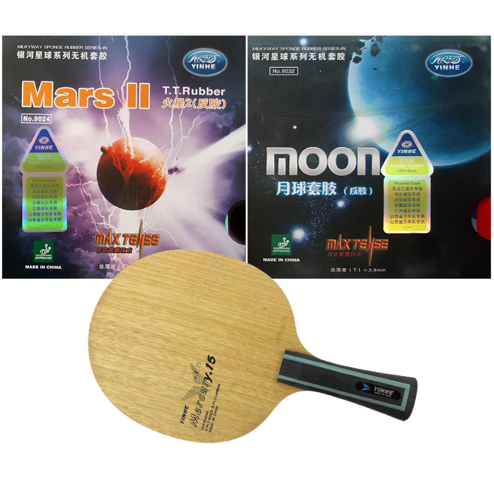 Galaxy YINHE Mercury.15 blade + Mars II Factory Tuned and Moon Factory Tuned rubber with sponge for a racket Long Shakehand FL galaxy yinhe venus 15 table tennis blade with 2x mercury ii rubber with sponge for a ping pong racket long shakehand fl