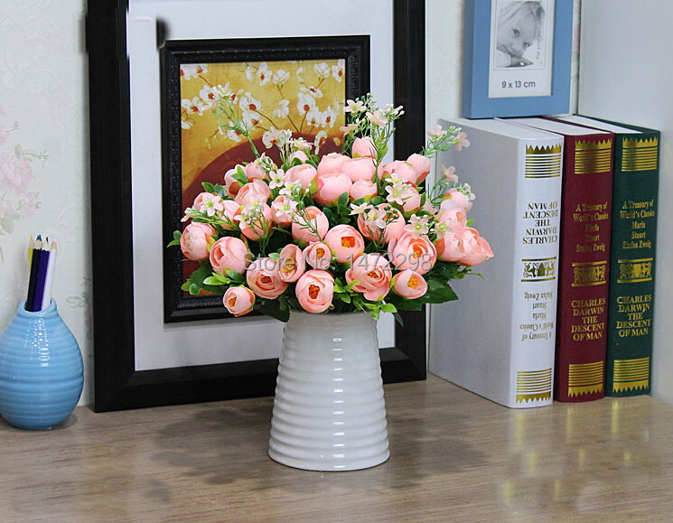 Artificial Silk Spring Tea Rose Flower Wedding Fake Colorful Bouquet Home Garden Decoration 10 Flower