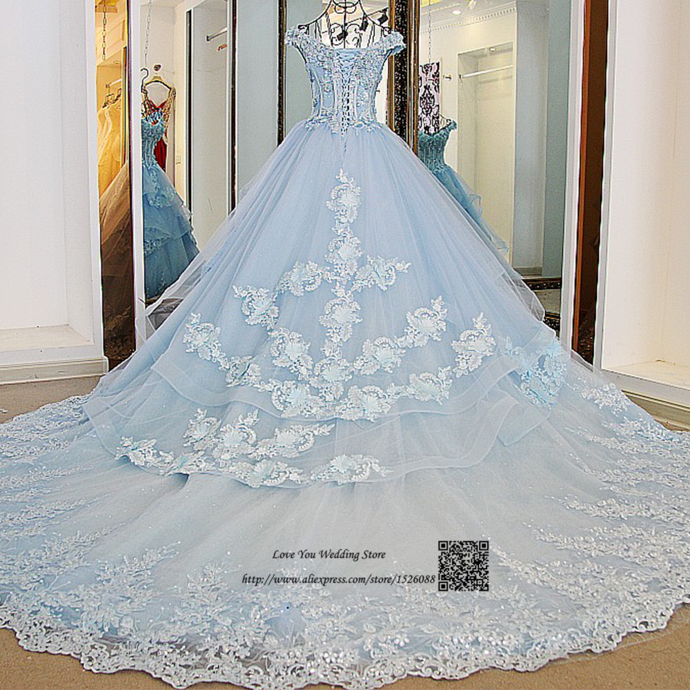 Hochzeitskleid vintage luxury wedding dress vestido de for Light blue lace wedding dress