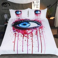 Pink by Pixie Cold Art Bedding Set Beautiful Duvet Cover 3D Blue Eye Bedclothes Watercolor 3 Piece Blood Red Quilt Cover Queen