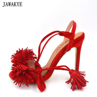 JAWAKYE Summer Sandals Women Kid Suede Red Blue Yellow Thin High Heels Fringe Tassel High Quality