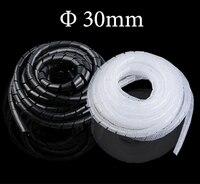 5 M 30mm negro blanco flexible PE polietileno PC de sobremesa cable Alambres gestionar manga protectora espiral Band tubo