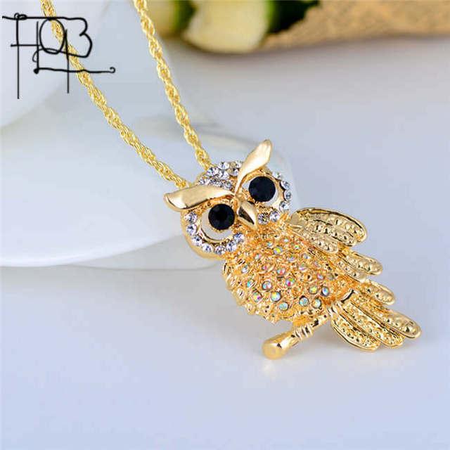18K Gold Rhinestone Owl Necklace Pendant