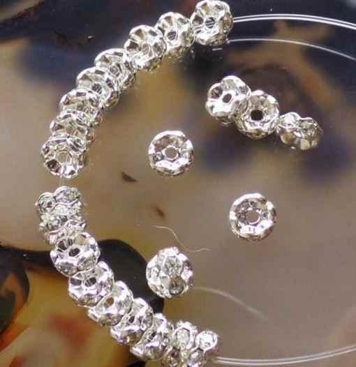 6mm 8mm 10mm 12mm xg34ere onda espaçador branco metal banhado a prata rondelle strass grânulos soltos para melhor diy hotsale cristal